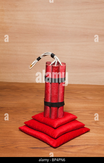 TNT,dynamite,explosive red,wood,bomb,indoors - Stock Image