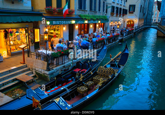 Italy, Europe, travel, Venice, Terrace, gondolas, Italy, Europe, travel, architecture, canal, evening, gondolas, - Stock-Bilder