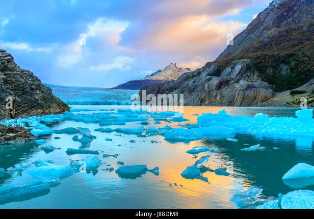Grey Glacier,Patagonia, Chile -  a glacier in the Southern Patagonian Ice Field, Cordillera del Paine - Stock Image