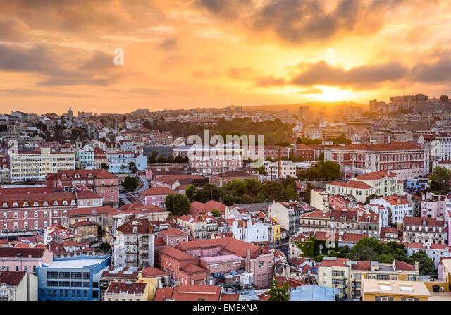 Lisbon, Portugal cityscape during sunset. - Stock Image