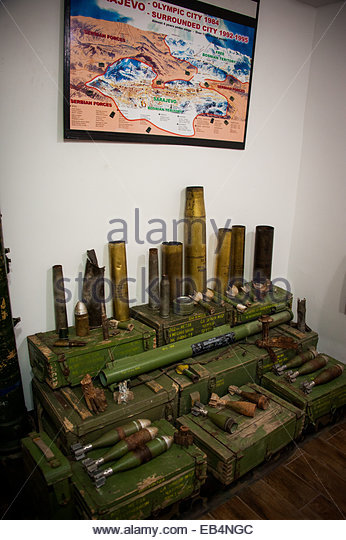Military artifacts at the Tunnel Museum in Sarajevo. - Stock Image