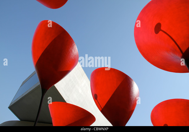 Zaha Hadid's work of art depicting the poppies at the Museum of Contemporary Art in Rome. - Stock Image