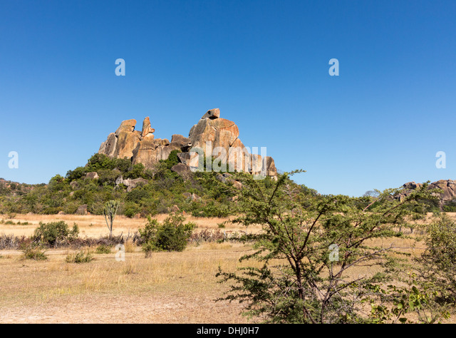 Granite rock formations in Matobo National park near Bulawao, Zimbabwe, Africa - Stock Image
