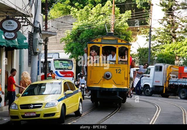 The Bonde (Trolley) at Santa Teresa, Rio de Janeiro, Brazil. - Stock Image