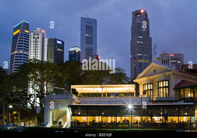 Skyline of Singapore, Singapur,  South East Asia twilight - Stock Image