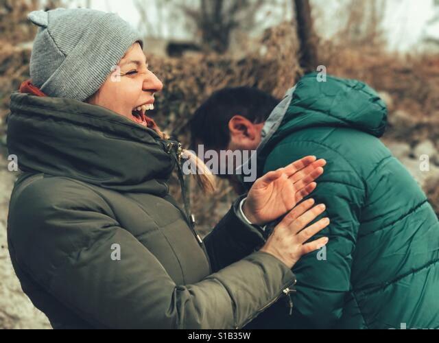 Friends laughing - Stock Image