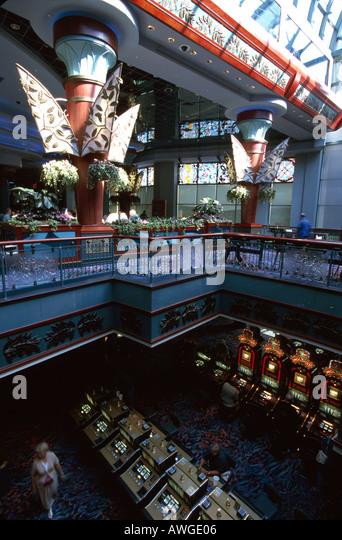 Connecticut Mashantucket Pequot Foxwood Resort Casino Native American interior slot machines - Stock Image