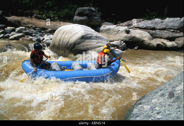 Honduras Cangrejal River whitewater rafting Pico Bonito National Park MR 351 Central America adventure travel - Stock Image