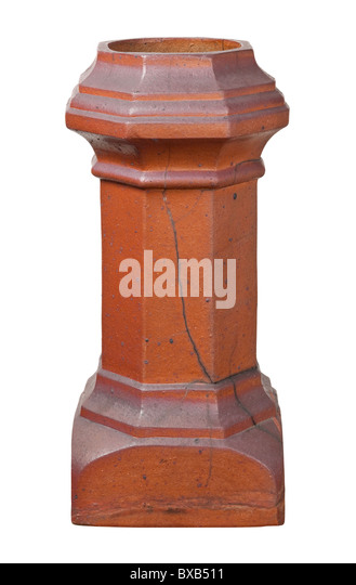 Old Victorian Chimney with a clipping path isolated on white. - Stock Image