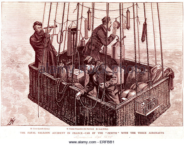 The Fatal Balloon Accident in France. Car of the 'Zenith' with the three aeronauts: M. Croce Spinelli (killed) - Stock Image