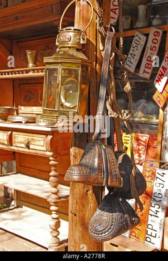 Chile Santiago Pueblito de Los Domínicos shopping brass lamp and stirrups - Stock Image