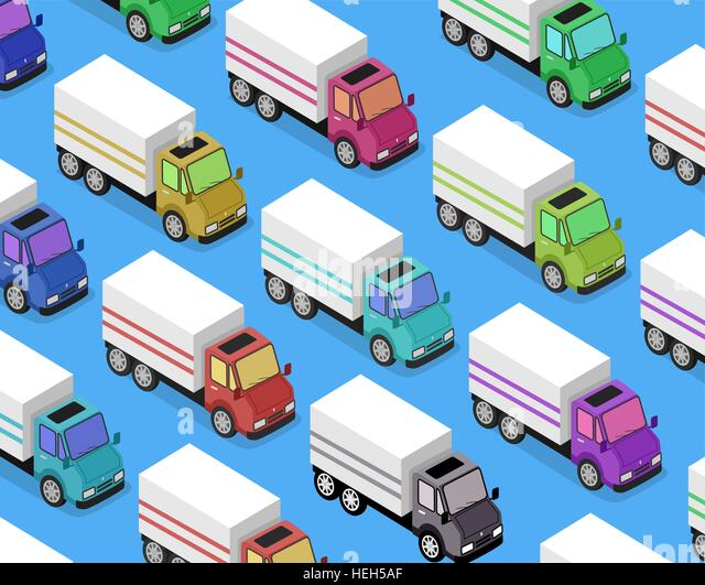 Isometric Delivery Van Car Icon. Isometric delivery lorry car icon. 3d delivery vector truck. Service van fast delivery - Stock-Bilder