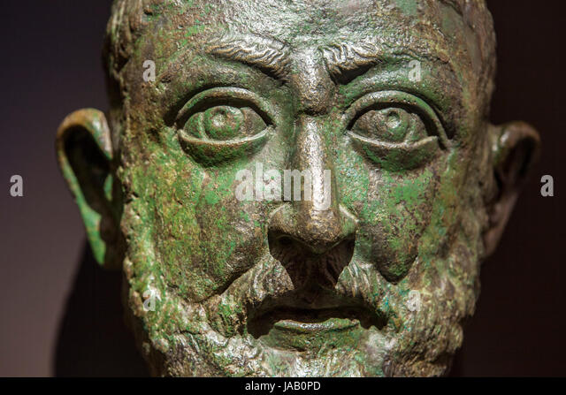 Madrid, Spain - February 24, 2017: Bronze Roman portrait from third Century AC from Syria, at National Archeological - Stock Image