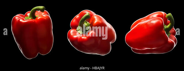 Sweet red pepper isolated on black - Stock Image