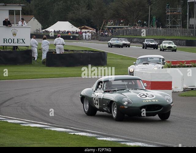 Goodwood Revival 2015 Royal Automobile Club TT Celebration race. Jaguar Lightweight E type exiting the chicane. - Stock Image