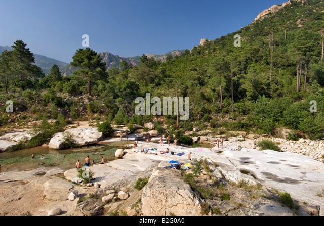 The Cavu river and surrounding landscape in southeast Corsica. - Stock-Bilder
