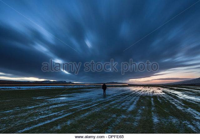 Man walking in Reykholt, Iceland - Stock Image