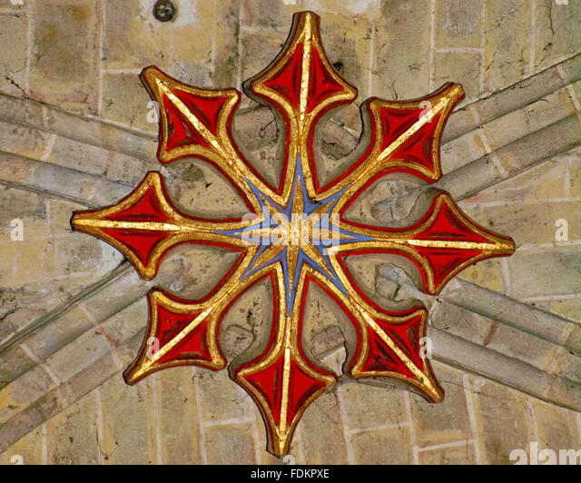 Star ceiling boss, Eglise de Beaumarchés, Gers (32) France - Stock Image