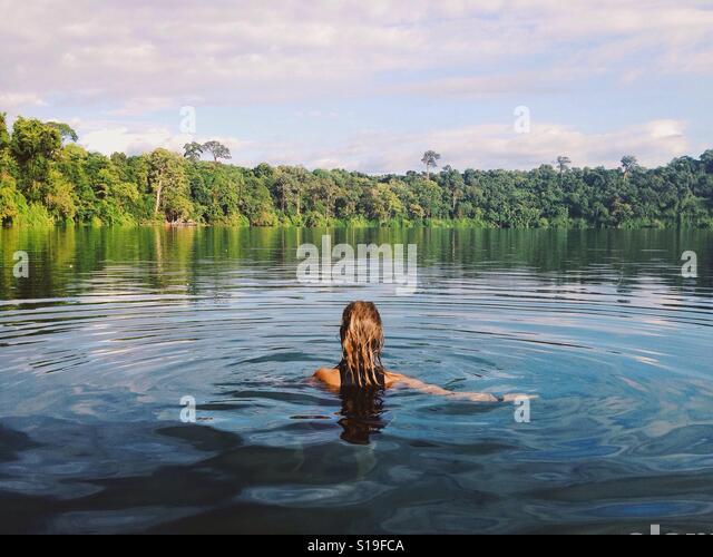 Swim in the lake - Stock Image