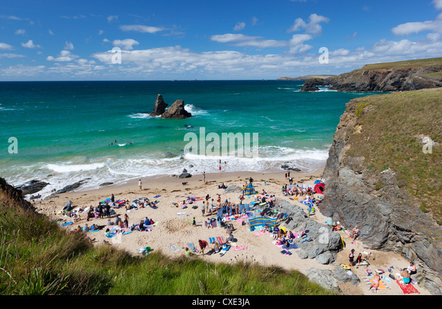 Small beach on North Cornwall coast, Porthcothan, near Newquay, Cornwall, England - Stock Image