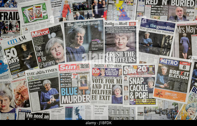 British newspaper front pages reporting that Prime Minister Theresa May has announced a snap general election for - Stock Image