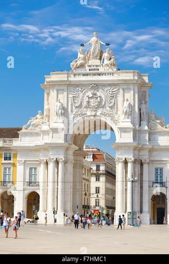 Commerce Square (Praca do Comercio), Lisbon, Portugal - Stock Image