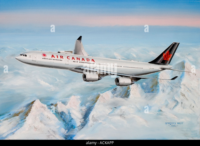 Painting of Air Canada Airbus A340 541 flying above snowy mountains - Stock Image