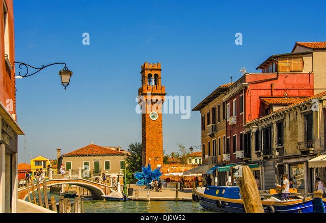 General view of Murano and its main Canal part of the Venetian Islandcomplex - Stock Image
