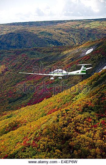 Glider over Hokkaido, Japan, Aerial - Stock Image