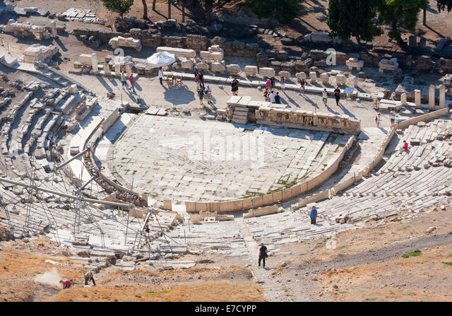 an analysis of the theater of dionysus The original theatre of dionysus, on the other hand, was an open air theater and, as such, had no roof the theatre was set up with the purpose of celebrating the annual city dionysia festival and the theatre served as the ideal ground for staging plays and holding the festivities.