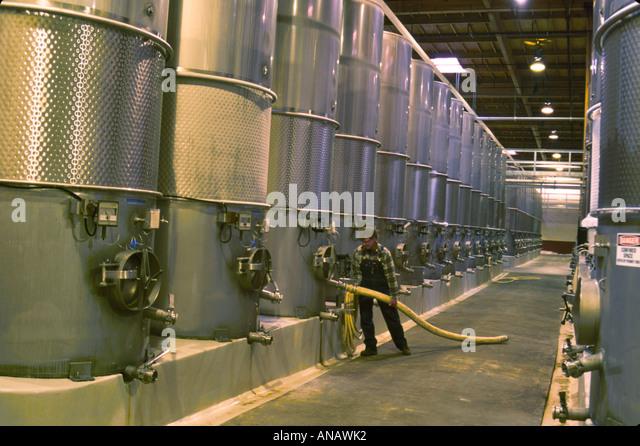 Washington Paterson Columbia Crest Winery fermentation tank storage worker wine production grape - Stock Image