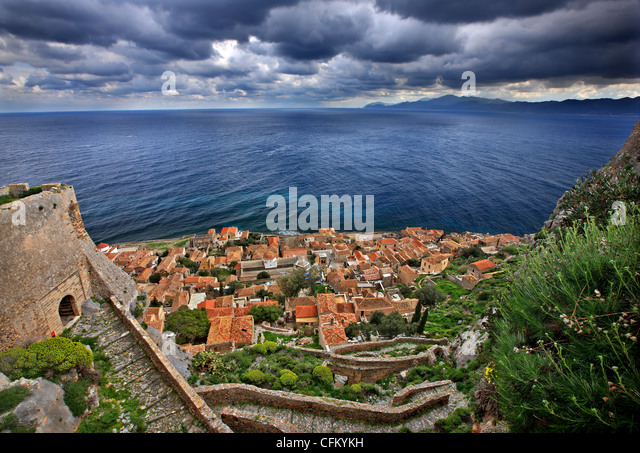 The medieval 'castletown' of Monemvasia (or 'Malvasia'), in Lakonia Prefecture, Peloponnese, Greece - Stock Image