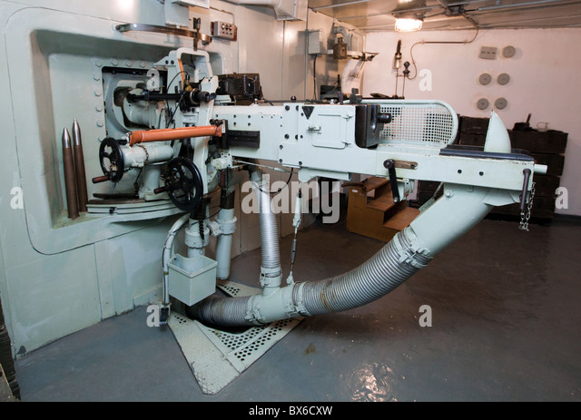 anti-tank gun vz. 36 gauge 47 mm, gunnery room, interior, Fort MO-S 19 Alej, Museum of the fortifications, Hlucin - Stock Image