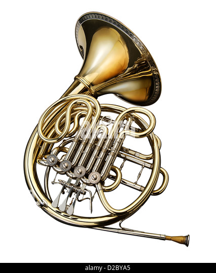 French Horn On White Background Stock Photos & French Horn ...