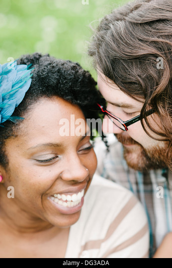 Smiling Interracial Couple, Close Up - Stock Image