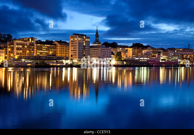 Bergen city in Norway. Night panorama. - Stock Image