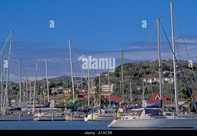 St Lucia sailboats Rodney Bay sailing yachting - Stock Image