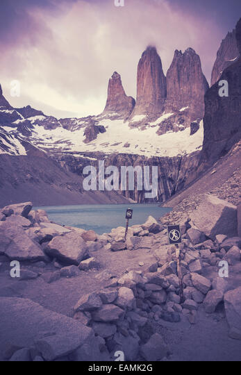 Retro filtered picture of Torres del Paine National Park. - Stock Image