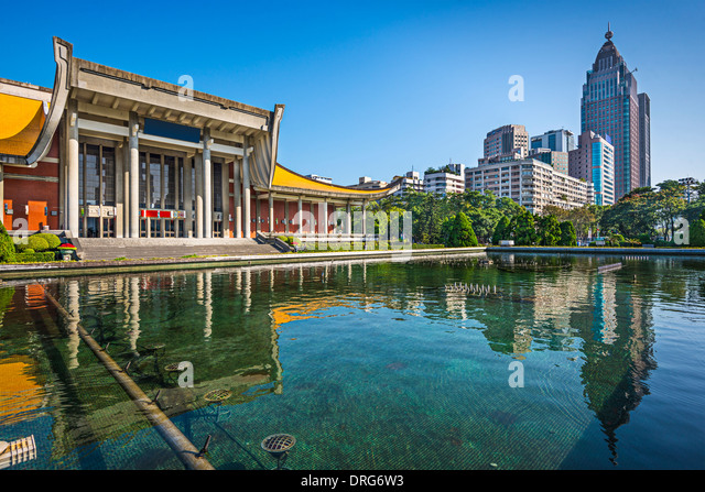 Taipei, Taiwan at Dr. Sun Yat-sen Memorial Hall fountain. - Stock Image