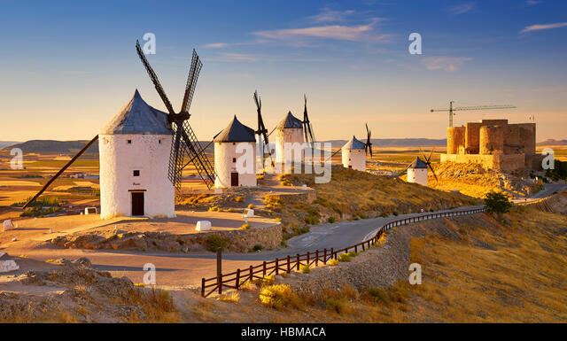 Windmills in Consuegra, Spain - Stock Image