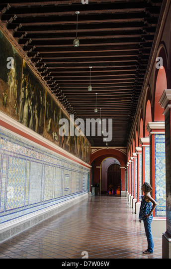 Mosaic walls in the Convent of Santo Domingo, Lima, Peru, South America - Stock Image