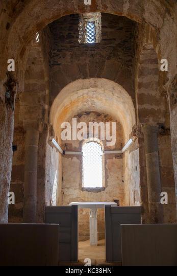 Alcuescar, Spain - September 17, 2017: Visigothic Basilica of Santa Lucia del Trampal, Alcuescar, Spain. Central - Stock Image