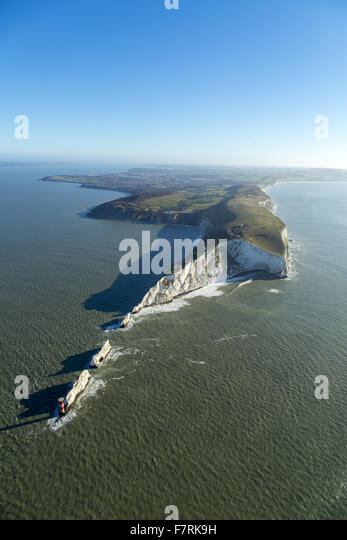 An aerial view of The Needles Old Battery and New Battery, Isle of Wight. - Stock Image