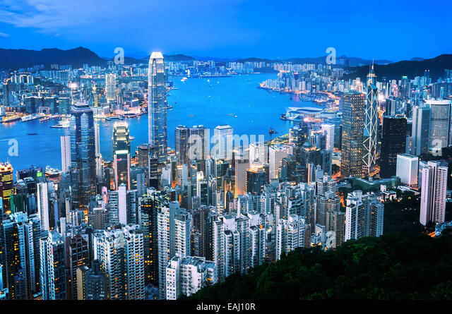 NIght time view of the Hong Kong skyline from Victoria Peak - Stock Image