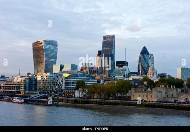 Tower of London, Gherkin and London skyline, London, England, UK - Stock Image