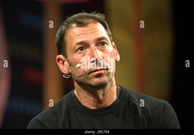 Alexander Todorov Professor of Psychology at Princeton University speaking on stage at Hay Festival 2017 Hay-on - Stock Image