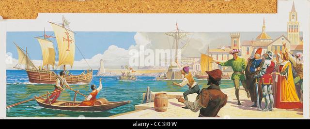 Voyages Of Christopher Columbus (1492-1504) - Caravels Depart Palos (August 3Rd, 1492). Drawing - Stock-Bilder