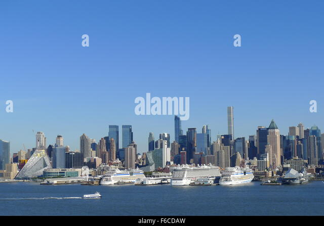 Cruise Liners at Anchor on Hudson River - Stock Image