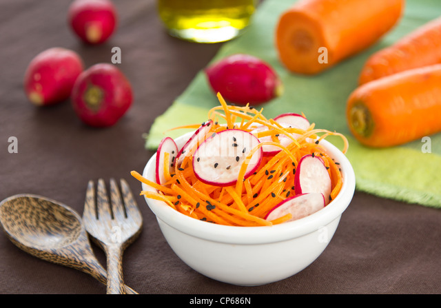 Carrot and radish salad - Stock Image