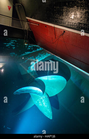 The propeller of the Queen Mary ship moored in San Diego, California. - Stock Image